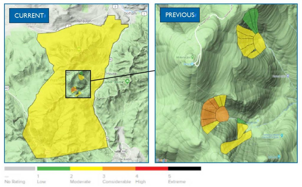CURRENT The newly expanded forecast zone encompasses nearly the entire northern Presidential Range and includes seven consolidated micro-scale forecast zones in Huntington and Tuckerman ravines. PREVIOUS The legacy 18-zone micro-scale avalanche forecast that provided a route-by-route avalanche forecast for each gulley in Tuckerman and Huntington ravines will NOW only be used in the spring.